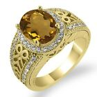 2.78 Ct Oval Whiskey Quartz White Diamond Yellow Gold Plated Silver Ring
