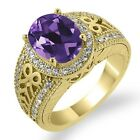 2.98 Ct Oval Purple Amethyst Sapphire Gold Plated Sterling Silver Ring