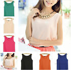 Fashion Women's Sexy Chiffon Sheer Vest Top Sleeveless Shirt Blouse Candy Color