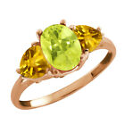 2.17 Ct Oval Lemon Quartz and Citrine Gold Plated Silver Ring
