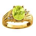 1.77 Ct Oval Yellow Lemon Quartz White Topaz 925 Yellow Gold Plated Silver Ring