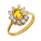 1.00 Ct Oval Yellow Citrine White Topaz Yellow Gold Plated Sterling Silver Ring