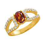 1.34 Ct Oval Orange Red Madeira Citrine Topaz Gold Plated Sterling Silver  Ring