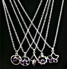 Women's Sterling Silver Purple Cubic Zirconia Pendant Necklace - FREE SHIPPING