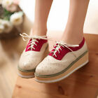 WOMEN Ladies Shiny Patent Lace Up High Platform Flat Brogue Oxford Creepers Shoe