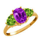 2.06 Ct Oval Purple Amethyst and Peridot Gold Plated Sterling Silver Ring