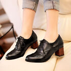 Women ladies Fashion Lace Up Cut Out Block Heel Brogue Oxford Court Office Shoes