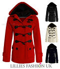 New Ladies Duffle Womens Hooded Toggle Jacket Trench Winter Coat Top Size 8-14