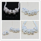 Lots Silver Plated Crystal Rhinestone Round Big Hole Charm Beads Fit Bracelet