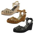 L3396 Womens Wedge Sandal Suedette Ankle Strap X over foot Strap Studded Trims