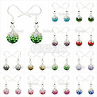 Premium Shamballa Earrings Czech Multicolor Crystal Disco Clay Ball Silver Drop