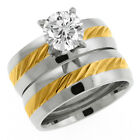 2.17 Ct Two Tone Cubic Zirconia CZ 2 Piece Engagement Wedding Ring and Band Set