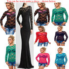 LADIES LONG SLEEVE FLORAL NET CROPPED LACE blouse top or as SHRUG BOLERO 8-12
