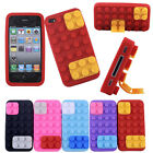 3D Brick Block Rubber Silicone Skin Soft Back Case Cover for Apple iPhone 4 4S