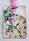 Hang Tags PINK ROSE CLOCK TAGS or MAGNET 562 Gift Tags