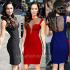 Womens Vintage Mesh Open Back Plunge Bodycon Stretch Party Cocktail Pencil Dress