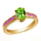 1.50 Ct Oval Checkerboard Green Peridot Pink Sapphire 14K Yellow Gold Ring