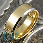 8mm Tungsten Ring Mens or Womens 14k Gold Ring Hot Engagement Jewelry Size 6-13