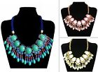 Bohemia Fashion Resin Bead Fan Frange Bib Bubble Statement Woven Necklace XL1107