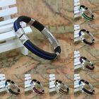 Various Style Fashion Stainless Steel Black Rubber Bracelet Bangle 8""