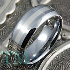 8mm Tungsten Carbide Ring Sterling Silver Inlay Men Women Wedding Band Size 6-15