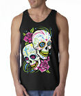 Sugar Skulls Mexican Cross Roses Flowers Hipster 100% Cotton Tank Top