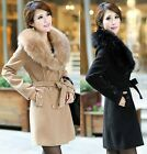 New Hot Womens Fur Collar Wool Coat Thick Double-breasted Long Outwear
