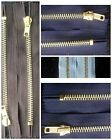 "2 x Zips  Brass(ed)  6"" Long Closed End BLACK WHITE BLUE BROWN ETC Choose Colour"