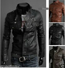 NEW 3color Multi - zipper men's motorcycle PU leather collar leather SIZE:M-XXL