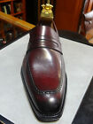 MEZLAN SHOE WINE BURGUNDY PENNY LOAFER SLIP ON HAND BURNISHED CALFSKIN LEATHER