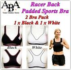 Padded Racer Back Sports Bra, double pack, sizes 34 36 38 racerback ahh so comfy