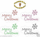 MERRY CHRISTMAS XMAS BUB IRON-ON RHINESTONE BLING PARTY TSHIRT TRANSFER APPLIQUE