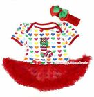 XMAS Red Rainbow Heart Bodysuit Christmas Socks Red Pettiskirt Baby Dress NB-12M