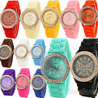 BEAUTIFUL GENEVA SILICONE CRYSTAL STONE QUARTZ WOMEN GIRL JELLY WRIST WATCH B73K