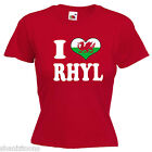 I Love Heart Rhyl Wales Ladies Lady Fit T Shirt 13 Colours Size 6 - 16