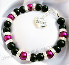 Ladies Girls  Black & Plum Charm Bracelet You Choose Charm Free Organza Gift Bag