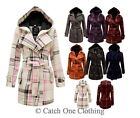 WOMEN BELTED BUTTON MILITARY CHECK COAT LADIES HOODED WINTER JACKET SIZE 8-14