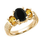 2.43 Ct Black Onyx Yellow Citrine 925 Yellow Gold Plated Silver 3-Stone Ring
