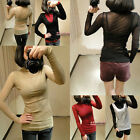 Women's Sexy Net Yarn Lace High-necked Long Sleeve Bottoming Top T-shirt  Blouse