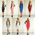 New womens ladies sexy backless long sleeve leather midi celeb bodycon dress