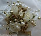 Wedding Flowers Prom Ladies Bling Rose Pearl Diamante Wrist Corsage All Colours