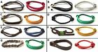 SET OF 2 BRAND NEW MIXED BRAND MEN LEATHER BRACELETS BANDS ADJUSTABLE