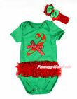 XMAS Kelly Green Red Ruffled Lacing STICK Toddler Baby Jumpsuit Romper NB-12M