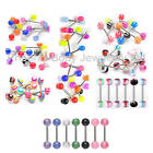 NEW Assorted Set of Acrylic Tongue Bars - Choose Design - 14g 16mm