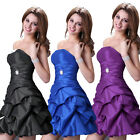 Ruched Formal Party Prom Gown Fashion Bride Evening Cocktail Silm Short Dress