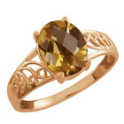 1.60 Ct Oval Checkerboard Champagne Quartz 925 Rose Gold Plated Silver Ring