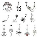 Novelty Surgical Steel Crystal CZ Belly Navel Bar Body Piercing Jewellery UK