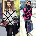 Korean Style Womens Colorblock Batwing Knitted Pullover Loose Long Jumper Sweate