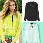Stylish Turndown Collar Long Sleeve Womens Button Down Shirts Loose Blouses Tops