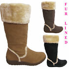 LADIES WOMENS FUR LINED WEDGE FLAT HEEL MID CALF WINTER SNOW BOOTS SHOES SIZE UK